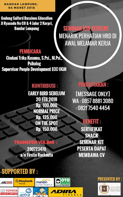 Seminar Job Seekers Bandar Lampung Terbaru 04 Maret 2018