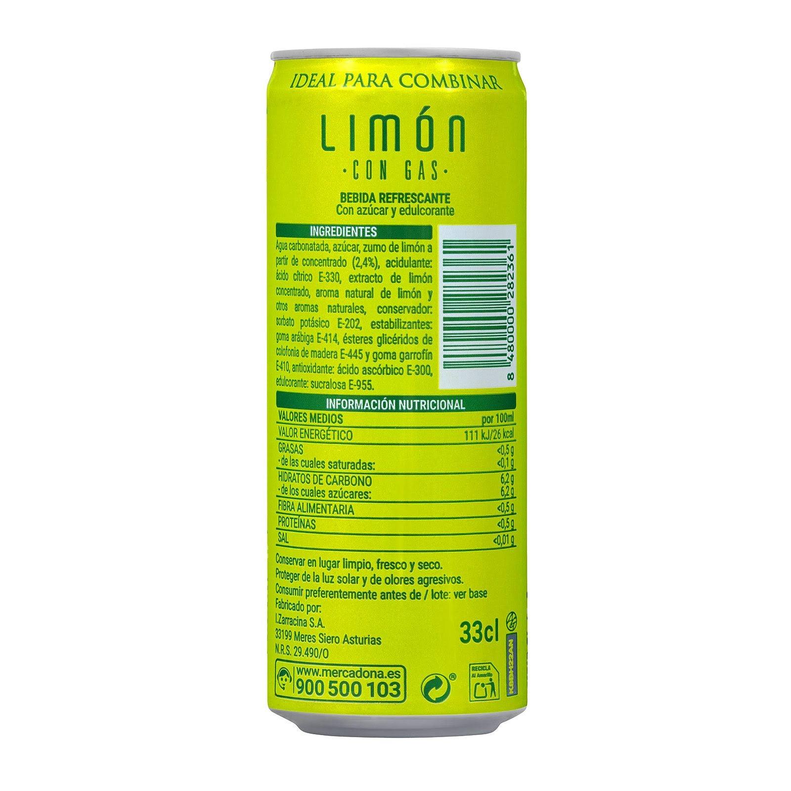 Refresco de limón con gas Hacendado