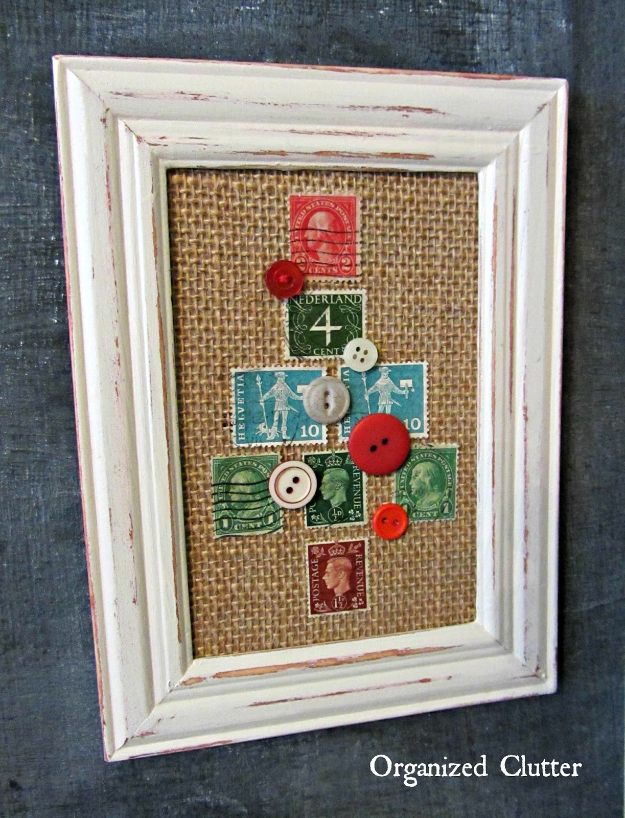 Postage Stamp & Button Framed Christmas Tree www.organizedclutterqueen.blogspot.com