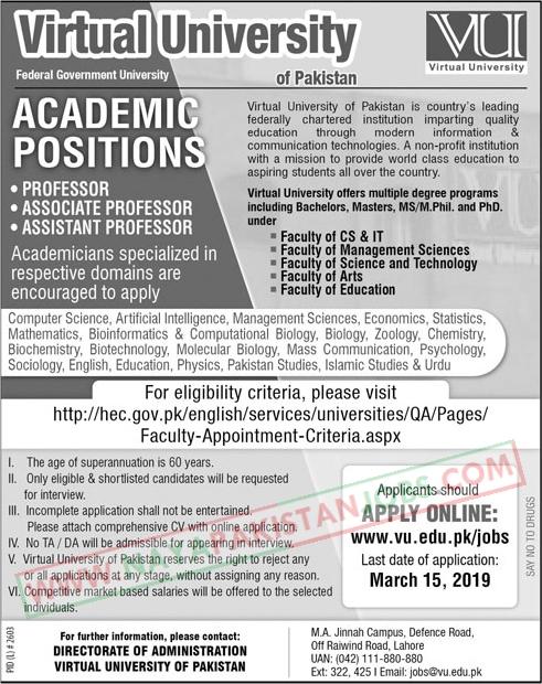VU Jobs, VU Jobs online Apply, Virtual University Of Pakistan Jobs 2019 Feb | www.vu.edu.pk