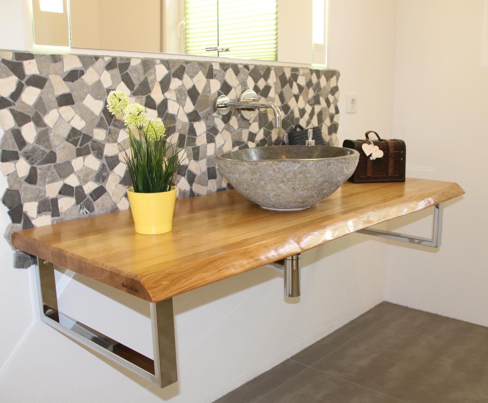 bestloft waschtischplatte waschtisch eiche holz baumkante waschtischkonsole ebay. Black Bedroom Furniture Sets. Home Design Ideas