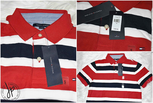 red, white, and black striped polo shirt