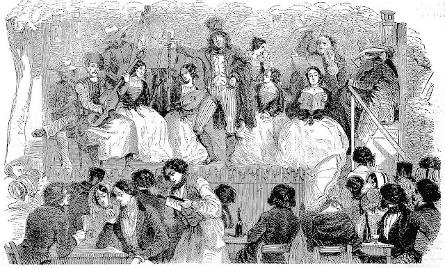 1846 France illustration of a nightclub stage act