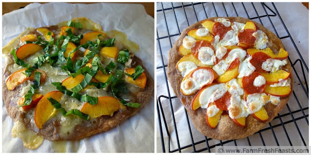 a pair of peach pizzas