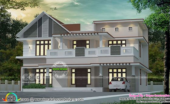 Mixed roof 4 bedroom house rendering