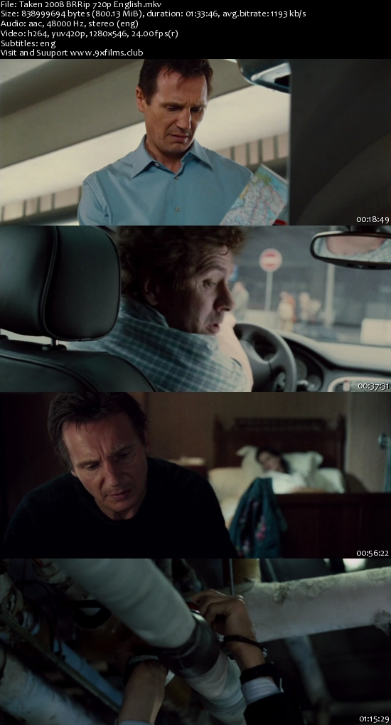 Taken 2008 BRRip 720p English 800MB