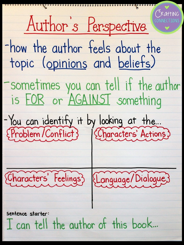 Crafting Connections Teaching about Authors Perspective – Promotion Points Worksheet