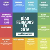 Calendario de Lunes Bancarios y Feriados Bancarios 2016