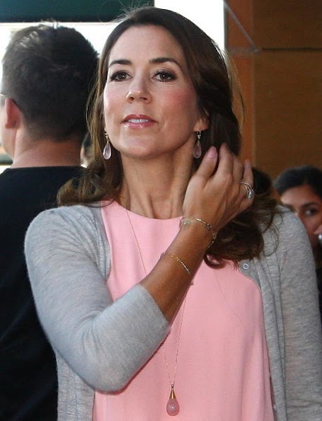 Crown Princess Mary attended the lecture 'Quantum Black Holes' by Stephen W. Hawking. Hugo Boss Clutch Bag, Gianvito Rossi Shoes, Prada dress