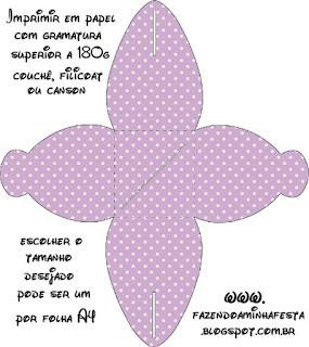 Lila con Lunares Blancos y Lazo Rojo: Cajas para Primera Comunión para Imprimir Gratis.