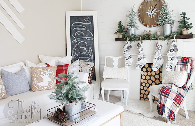 farmhouse christmas decor and decorating ideas white and red christmas decor fixer upper style - Farmhouse Christmas Decorating Ideas