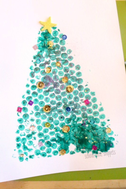 bubble wrap painting christmas tree