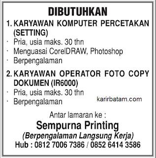 Lowongan Kerja CV. Sempurna Printing