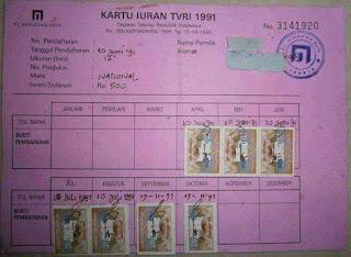 Jaman Dulu Ada Kartu Iuran TVRI..500 Perak Perbulan