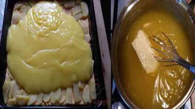طبقات الكيك البارد بالتفاح والكريمة