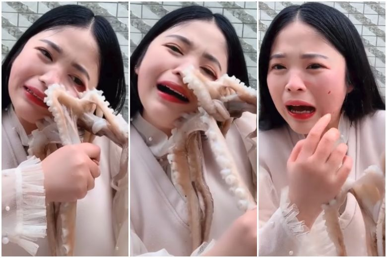 A livestream host was seen getting disfigured by an octopus as she tried to eat it while it was alive.