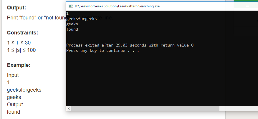 "Geeksforgeeks Solution For "" Pattern Searching """