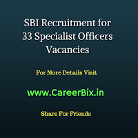 SBI Recruitment for 33 Specialist Officers Vacancies