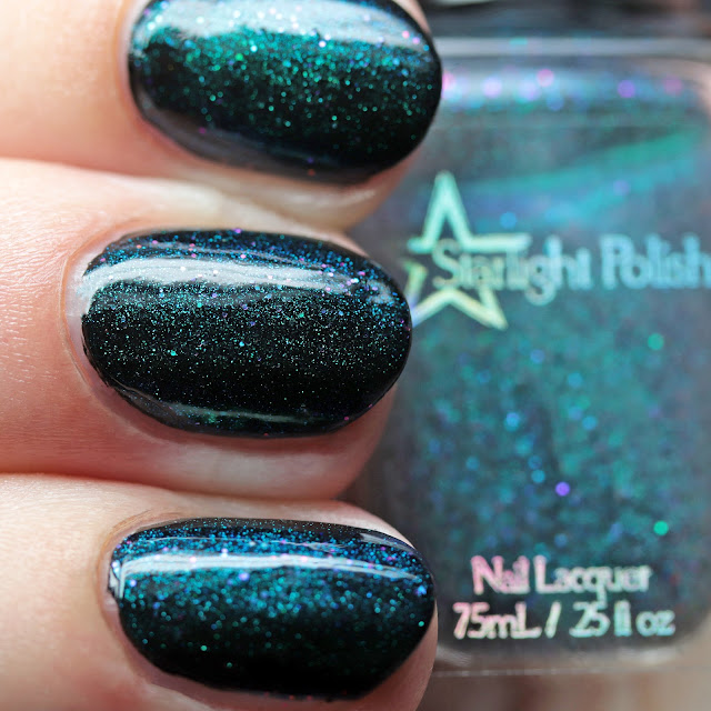 Starlight Polish Kelpie Wishes over black