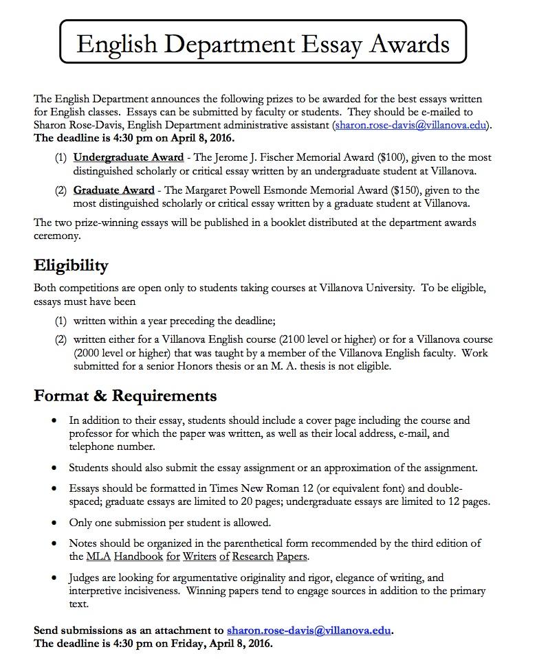 villanova essay word limit