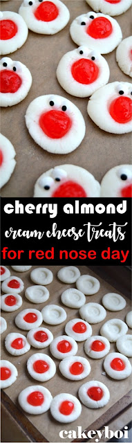 cream cheese, icing sugar and almond extract whipped into a dough and topped with a cocktail cherry - all in aid of Red Nose Day
