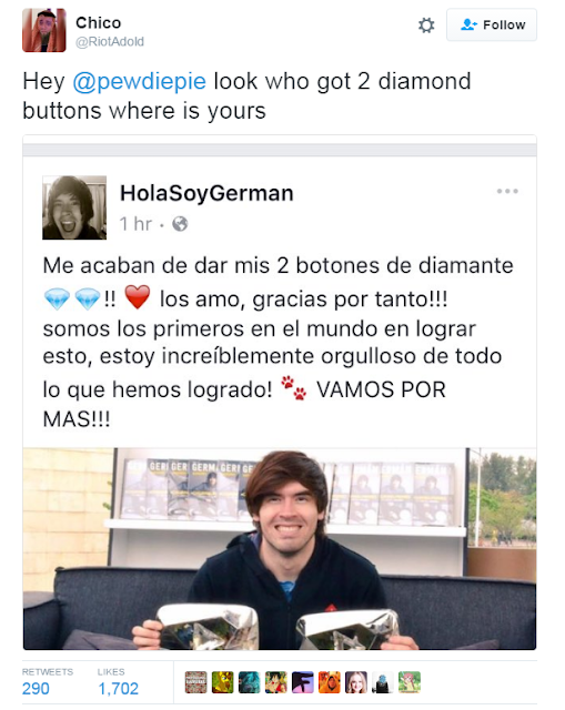 HolaSoyGerman Diamond Play Button