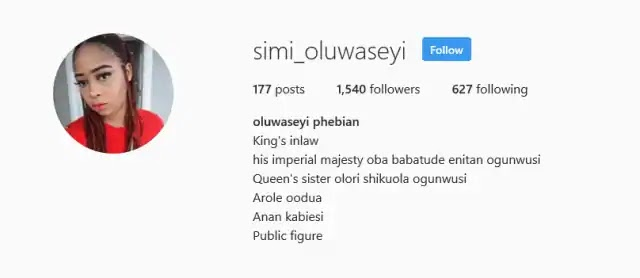 Younger sister to the Ooni of Ife's new wife updates Instagram profile to suit new status