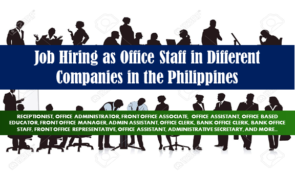 Office job Vacancy. Apply Today & Find Your Perfect Job!    OFFICE JOBS  1. RECEPTIONIST Apply before July 8, 2017 Full time Job level: Fresh Grad / Entry Level Job category: Administration and Coordination Educational requirement: Graduated from college Industry: Retail Industry Vacancy: 1 opening Office Address: Bldg. II, Sunyo Compound, Veterans Center, Taguig, Metro Manila, Philippines  2. OFFICE ADMINISTRATOR Apply before June 9, 2017 Full time Job level: Fresh Grad / Entry Level Job category: Administration and Coordination Educational requirement: Completed associate's degree Industry: Food / Beverages Vacancy: 1 opening Office Address: Manila, Quezon City, Metro Manila, Philippines  3. FRONT OFFICE ASSOCIATE Apply before May 29. 2017 Full time Job level: Associate / Supervisor Job category: Hospitality and Tourism Educational requirement: Graduated from college Industry: Hospitality Vacancy: 3 openings Office Address: Newport Blvd, Pasay, Metro Manila, Philippines  4. OFFICE ASSISTANT Apply before June 27, 2017 Full time Job level: Fresh Grad / Entry Level Job category: Administration and Coordination Educational requirement: Graduated from college Industry: Salon Vacancy: 4 openings Office Address: 1932 Pedro Gil St, San Andres Bukid, Manila, 1017 Metro Manila, Philippines  5. OFFICE BASED EDUCATOR Apply before June 5, 2017 Full time Job level: Fresh Grad / Entry Level Job category: Customer Service Educational requirement: Graduated from college Industry: ESL Vacancy: 50 openings Office Address: 22 Emerald, Pasig, 1609 Metro Manila, Philippines  6. OFFICE BASED ESL INSTRUCTORS Apply before July 26, 2017 Full time Job level: Fresh Grad / Entry Level Job category: Education and Training Educational requirement: Graduated from college Industry: ESL Vacancy:  51 openings Office Address: Pasig, Metro Manila, Philippines  7. FRONT OFFICE MANAGER Apply before July 15, 2017 Full time Job level: Associate / Supervisor Job category: Hospitality and Tourism Educational requirement: Graduated from college Industry: Hospitality Vacancy: 1 opening Office Address: Binondo, Manila, Metro Manila, Philippines  8. ADMIN ASSISTANT | OFFICE CLERK Apply before June 9, 2017 Contractual Job level: Fresh Grad / Entry Level Job category: Administration and Coordination Educational requirement: Graduated from college Industry: Human Resources / HR Vacancy: 10 openings Office Address: 4F Tower 6789, Ayala Avenue,, Makati, Metro Manila, Philippines  9. FRONT OFFICE MANAGER Apply before May 29, 2017 Full time Job level: Mid-Senior Level / Manager Job category: Hospitality and Tourism Educational requirement: Graduated from college Industry: Hospitality Vacancy: 1 opening Office Address: Newport Blvd, Pasay, Metro Manila, Philippines  10. OFFICE BASED MENTORS | KIDS Apply before September 6, 2017 Full time Job level: Fresh Grad / Entry Level Job category: Education and Training Educational requirement: Graduated from college Industry: ESL Vacancy: 1 opening Office Address: Pasig, Metro Manila, Philippines     11. WEB DEVELOPER | OJT  Apply before June 14, 2017 Full time Job level: Internship / OJT Job category: IT and Software Educational requirement: Graduated from high school Industry: Staffing / Recruiting Vacancy: 2 openings Office Address: Strata 100, Emerald Ave, San Antonio, Pasig, Metro Manila, Philippines  12. BANK OFFICE CLERK Apply before May 23, 2017 Contractual Job level: Fresh Grad / Entry Level Job category: Administration and Coordination Educational requirement: Graduated from college Industry: Human Resources / HR Vacancy: 10 openings Office Address: 4F Tower 6789, Ayala Avenue,, Makati, Metro Manila, Philippines  13. OFFICE FIELD ENGINEER Apply before May 30, 2017 Full time Job level: Associate / Supervisor Job category: Architecture and Engineering Educational requirement: Graduated from college Industry: Contractor Vacancy: 1 opening Office Address: #9009 Pio Del Pilar Street, Concepcion 2, Marikina City 1811 (We're beside Water Nymph Resort, Red / Maroon Gate), Marikina, Metro Manila, Philippines  14. OFFICE CLERK | MAKATI, TAGUIG  Apply before June 18, 2017 Contractual Job level: Fresh Grad / Entry Level Job category: Administration and Coordination Educational requirement: Graduated from college Industry: Human Resources / HR Vacancy: 20 openings Office Address: 4F Tower 6789, Ayala Avenue,, Makati, Metro Manila, Philippines  15. CORPORATE OFFICE LEASING MANAGER Apply before July 31, 2017 Full time Job level: Associate / Supervisor Job category: Sales and Marketing Educational requirement: Graduated from college Industry: Commercial Real Estate Vacancy: 1 opening Office Address: Pacific Century Tower, Scout Borromeo Street, Quezon City, NCR, Philippines  16. BANK OFFICE STAFF Apply before October 21, 2017 Contractual Job level: Fresh Grad / Entry Level Job category: Administration and Coordination Educational requirement: Graduated from college Industry: Human Resources / HR Vacancy: 30 openings Office Address: 4F Vicente Madrigal Building,, Ayala Avenue,, Makati, Metro Manila, Philippines  17. FRONT OFFICE REPRESENTATIVE Apply before May 22, 2017 Full time Job level: Associate / Supervisor Job category: Hospitality and Tourism Educational requirement: Graduated from college Industry: Commercial Real Estate Vacancy: 2 openings Office Address: 7F Marajo Tower 312 26th St. corner 4th Avenue Bonifacio Global City Taguig City  18. BANK OFFICE STAFF Apply before June 4, 2017 Contractual Job level: Fresh Grad / Entry Level Job category: Accounting and Finance Educational requirement: Graduated from college Industry: Human Resources / HR Vacancy: 5 openings Office Address: 4F Tower 6789, Ayala Avenue,, Makati, Metro Manila, Philippines  19. FRONT OFFICE MANAGER Apply before June 4, 2017 Full time Job level: Fresh Grad / Entry Level Job category: Management and Consultancy Educational requirement: Graduated from college Industry: Creative and Digital Solutions Vacancy: 1 opening Office Address: Quezon City, Metro Manila, Philippines  20. OFFICE STAFF | BANK Apply before June 11, 2017 Contractual Job level: Fresh Grad / Entry Level Job category: Administration and Coordination Educational requirement: Graduated from college Industry: Human Resources / HR Vacancy: 1 opening Office Address: 4F Tower 6789, Ayala Avenue,, Makati, Metro Manila, Philippines  21. BANK OFFICE STAFF Apply before June 2, 2017 Full time Job level: Fresh Grad / Entry Level Job category: Administration and Coordination Educational requirement: Graduated from college Industry: Human Resources / HR Vacancy: 4 openings Office Address: 4F Tower 6789, Ayala Avenue,, Makati, Metro Manila, Philippines   22. ADMIN SUPERVISOR Apply before May 30, 2017 Full time Job level: Associate / Supervisor Job category: Administration and Coordination Educational requirement: Graduated from college Industry: Construction Vacancy: 1 opening  Office Address: Fort Bonifacio, Taguig, Metro Manila, Philippines  23.BANK OFFICE STAFF | ANGELES, PAMPANGA Apply before July 17, 2017 Full time Job level: Fresh Grad / Entry Level Job category: Accounting and Finance Educational requirement: Graduated from college Industry: Human Resources / HR Vacancy: 1 opening Office Address: 4F Tower 6789, Ayala Avenue,, Makati, Metro Manila, Philippines  24. ONLINE ESL TEACHER | OFFICE BASED | QUEZON CITY  Apply before May 24, 2017 Quezon, Philippines · Full time Job level: Fresh Grad / Entry Level Job category: Education and Training Educational requirement: Graduated from college Industry: Online ESL Vacancy: 20 openings Office Address: West Ave, Quezon City, Metro Manila, Philippines  25. ORDER ENTRY | BACK OFFICE SPECIALIST Apply before June 89, 2017 Salary: 8,000.00 - 24,000.00 PHP / month · Full time Job level: Fresh Grad / Entry Level Job category: Administration and Coordination Educational requirement: Graduated from college Industry:  Marketing / Advertising / Sales Vacancy: 5 openings Office Address: 30th Floor Union Bank Plaza, Meralco Avenue cor Onyx Road Ortigas Center, Pasig, Philippine   26. BANK OFFICE STAFF | MONEY SORTER | LA UNION Apply before July 17, 2017 Full time Job level: Fresh Grad / Entry Level Job category: Administration and Coordination Educational requirement: Graduated from college Industry: Human Resources / HR Vacancy: 1 opening Office Address: 4F Tower 6789, Ayala Avenue,, Makati, Metro Manila, Philippines  27. BANK OFFICE STAFF (MONEY SORTER) | SANTIAGO, ISABELA Apply before July 15, 2017 Full time Job level: Fresh Grad / Entry Level Job category: Accounting and Finance Educational requirement: Graduated from college Industry: Human Resources / HR Vacancy: 1 opening Office Address: 4F Tower 6789, Ayala Avenue,, Makati, Metro Manila, Philippines  28. BANK OFFICE STAFF | MONEY SORTER | LUCENA Apply before July 17, 2017 Full time Job level: Fresh Grad / Entry Level Job category: Administration and Coordination Educational requirement: Graduated from college Industry: Human Resources / HR Vacancy: 1 opening Office Address: 4F Tower 6789, Ayala Avenue,, Makati, Metro Manila, Philippines  29. SALES OFFICE MANAGER Apply before July 30, 2017 Full time Job level: Mid-Senior Level / Manager Job category: Supply Chain Educational requirement: Graduated from college Industry: Food / Beverages Vacancy: 2 openings Office Address: Mc Arthur Highway, Brgy. Sindalan, San Fernando, Central Luzon, Philippines  30. OFFICE ASSISTANT Apply before May 30. 2017 Full time Job level: Fresh Grad / Entry Level Job category: Administration and Coordination Educational requirement: Graduated from college Industry: Media Production Vacancy: 1 opening Office Address: MJB Building, Tomas Morato, Quezon City, Metro Manila, Philippines  31. OFFICE CIVIL ENGINEER / ARCHITECT Apply before August 27, 2017 Salary: 7,000.00 - 22,000.00 PHP / month · Full time Job level: Fresh Grad / Entry Level Job category: Architecture and Engineering Educational requirement: Graduated from college Industry: Construction Office Address: G&A Building, 2303 Pasong Tamo Extension, Makati, Metro Manila, Philippines  32. OFFICE ASSISTANT | RIZAL CHAPTER - MAKATI BRANCH Apply before July 30, 2017 Full time Job level: Fresh Grad / Entry Level Job category: Public Service and NGOs Educational requirement: Graduated from college Industry: Non-Profit / Volunteering Vacancy: 1 opening Office Address: 37 EDSA corner Boni Avenue, Mandaluyong, Metro Manila, Philippines  33. ADMINISTRATIVE ASSISTANT Apply before May 30, 2017 Full time Job level: Fresh Grad / Entry Level Job category: Administration and Coordination Educational requirement: Graduated from college Industry: Marketing / Advertising / Sales Vacancy: 1 opening Office Address: Unit 2203 22nd Floor, Antel 2000 Corporate Centre, Valero St., Salcedo Village, Makati City, Makati, Metro Manila, Philippines  34. EXECUTIVE ASSISTANT Apply before June 14, 2017 Full time Job level: Associate / Supervisor Job category: Administration and Coordination Educational requirement: Graduated from college Industry: Contract Staffing Services Firm Vacancy: 1 opening Office Address: Makati, Metro Manila, Philippines  35. ADMINISTRATIVE ASSISTANT Apply before June 30, 2017 Full time Job level: Associate / Supervisor Job category: Administration and Coordination Educational requirement: Graduated from college Industry: Photography Vacancy: 1 opening  Office Address: One Rockwell West Tower, Rockwell Dr, Makati, Metro Manila, Philippines  36. HR RECRUITMENT COORDINATOR Apply before July 8, 2017 Salary: 5,000.00 - 15,500.00 PHP / month · Full time Job level: Fresh Grad / Entry Level Job category: Human Resources Educational requirement: Graduated from college Industry: Human Resources / HR Vacancy: 3 openings Office Address: 4F Tower 6789, Ayala Avenue,, Makati, Metro Manila, Philippines  37. ADMINISTRATIVE SECRETARY Apply before June 17, 2017 Contractual Job level: Fresh Grad / Entry Level Job category: General Services Educational requirement: Graduated from college Industry: Wholesale Vacancy: 2 openings Office Address: Quezon City, Metro Manila, Philippines  38. EXECUTIVE ASSISTANT Apply before July 1, 2017 Full time Job level: Associate / Supervisor Job category: Administration and Coordination Educational requirement: Graduated from college Industry: Photography Vacancy: 1 opening Office Address: One Rockwell West Tower, Rockwell Drive, Makati, NCR, Philippines  39. INSTALLATION ENGINEER Appy before May 27, 2017 Salary: 12,848.00 - 16,000.00 PHP / month · Full time Job level: Fresh Grad / Entry Level Job category: Architecture and Engineering Educational requirement: Graduated from college Industry: Construction Vacancy: 2 openings Office Address: 7th Floor, Annapolis Wilshire Plaza, No. 11 Annapolis St., Greenhills, San Juan, Metro Manila, Philippines  40. ADMINISTRATIVE ASSISTANT Apply before July 16, 2017 Full time Job level: Fresh Grad / Entry Level Job category: General Services Educational requirement: Graduated from college Industry: Retail Industry Vacancy: 2 openings Office Address: 31st Floor Philamlife Tower, Paseo de Roxas, Makati, Metro Manila, Philippines  41. ADMINISTRATIVE ASSISTANT Apply before July 8, 2017 Full time Job level: Associate / Supervisor Job category: Administration and Coordination Educational requirement: Graduated from college Industry: Cosmetics Vacancy: 2 openings Office Address: Pasay, Metro Manila, Philippines  42. PURCHASING ASSISTANT Apply before June 17, 2017 Job level: Fresh Grad / Entry Level Job category: Administration and Coordination Educational requirement: Graduated from college Industry: Oil / Energy / Solar / Greentech Vacancy: 2 openings Office Address: Uni oil Corporate Office, Unit 2701 27th/F West Tower, Philippine Stock Exchange Center Bldg., Exchange Road, Ortigas, Pasig City, Pasig, Metro Manila, Philippines  43. COMPANY NURSE/RECEPTIONIST Apply July 11, 2017 Full time Job level: Fresh Grad / Entry Level Job category: Health and Medical Educational requirement: Graduated from college Industry: Business Process Outsourcing Vacancy: 1 opening Office Address: No. 146 3rd Floor FRANKFORT Bldg. Pasig Blvd. Bagong Ilog, Pasig City  44. RECEPTIONIST Apply before June 19, 2017 Full time Job level: Fresh Grad / Entry Level Job category: Administration and Coordination Educational requirement: Graduated from college Industry: Coin Laundry Vacancy: 2 openings Office Address: Unit 701 The Infinity Bldg, 26th St., Bonifacio Global City, Taguig, National Capital Region, Philippines  45. ADMINISTRATIVE ASSISTANT Apply before June 16, 2017 Full time Job level: Fresh Grad / Entry Level Job category: Administration and Coordination Educational requirement: Graduated from college Industry: Health and Medical Vacancy: 4 openings Office Address: Cubao, Quezon City, Metro Manila, Philippines  46. BANK OFFICER Apply before June 26, 2917 Contractual Job level: Fresh Grad / Entry Level Job category: Administration and Coordination Educational requirement: Graduated from college Industry: Human Resources / HR Vacancy: 5 openings Office Address: 4F Tower 6789, Ayala Avenue,, Makati, Metro Manila, Philippines  47. LIAISON STAFF Apply before June 14, 2017 Full time Job level: Fresh Grad / Entry Level Job category: Administration and Coordination Educational requirement: Graduated from college Industry: Real Estate / Mortgage Vacancy: 1 opening Office Address: 6776 Ayala Ave, Legazpi Village, Makati, 1229 Metro Manila, Philippines  48. ADMINISTRATIVE ASSISTANT Apply before May 29, 2017 Full time Job level: Mid-Senior Level / Manager Job category: Administration and Coordination Educational requirement: Graduated from college Industry: Pharmaceuticals Vacancy: 2 openings Office Address: Sitio Tanpoco, Brgy. Matatalaib Tarlac City, Philippines  49. SALES COORDINATOR Apply before July 6, 2017 Full time Job level: Fresh Grad / Entry Level Job category: Sales and Marketing Educational requirement: Graduated from high school Industry: Information Communication Technology Vacancy: 1 opening Office Address: 544 Florentino Torres St. Sta. Cruz, Manila, Manila, Metro Manila, Philippines  50. ADMINISTRATIVE ASSISTANT Apply before May 30, 2017 Full time Job level: Fresh Grad / Entry Level Job category: Administration and Coordination Educational requirement: Graduated from college Industry: Marketing / Advertising / Sales Vacancy: 1 opening Office Address: Unit 2203 22nd Floor, Antel 2000 Corporate Centre, Valero St., Salcedo Village, Makati City, Makati, Metro Manila, Philippines  READ MORE: