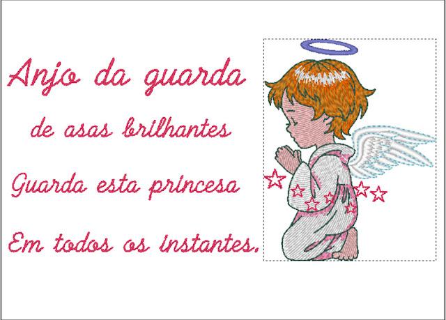 Oração Anjo da Guarda Princesa - Bordado Grátis
