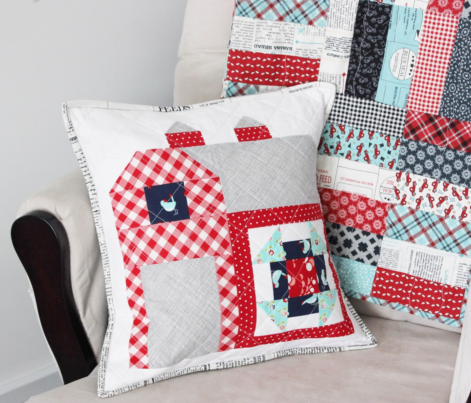 Fabrics: I used various Bonnie and Camille prints from the Vintage Picnic line for the blocks and backing mixed with a little Widescreen in grey from ... & Farmgirl Vintage Quilted Pillow Cover + Tutorial - Hilltop Custom ... pillowsntoast.com