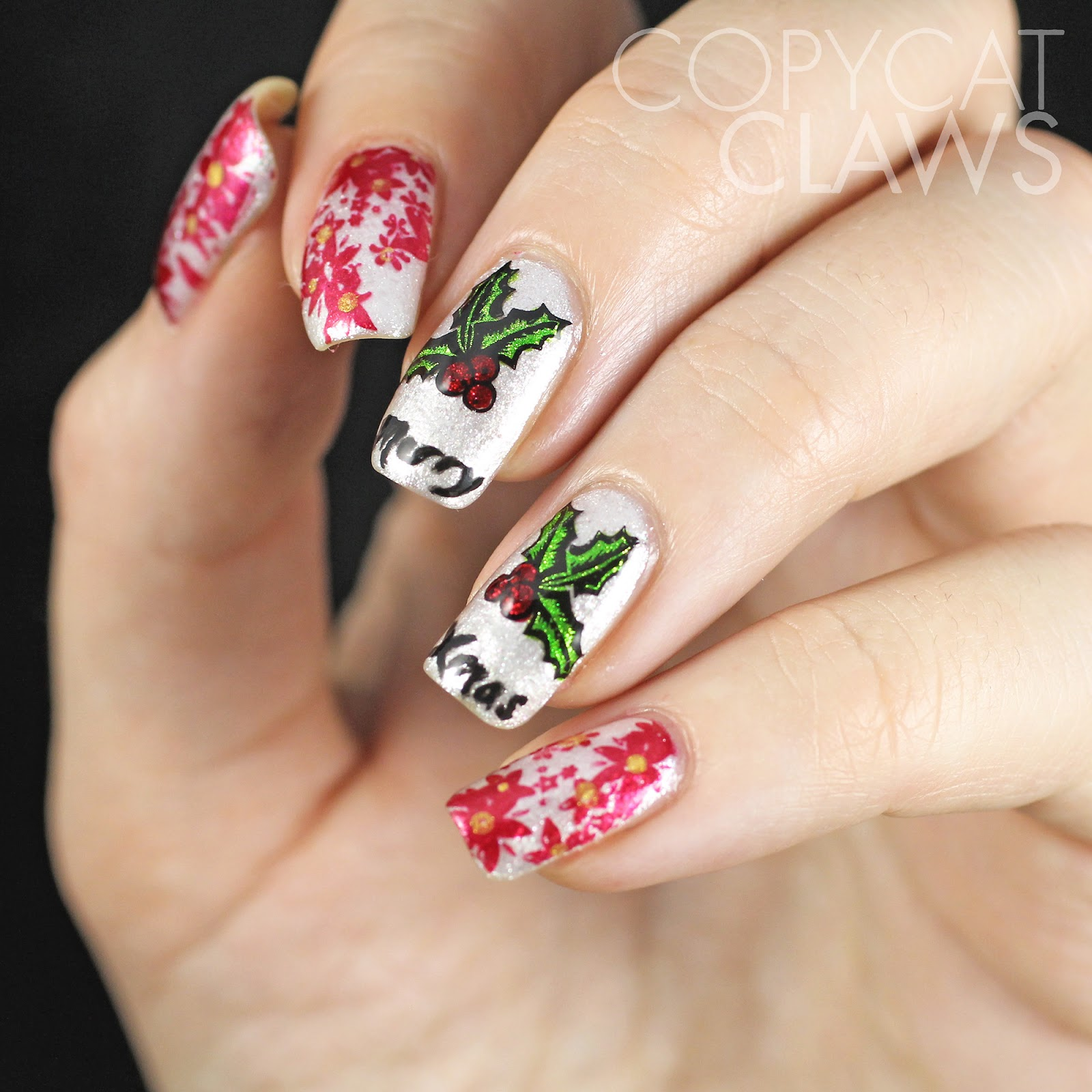 Christmas Nails On Black Hands: Copycat Claws: Sunday Stamping