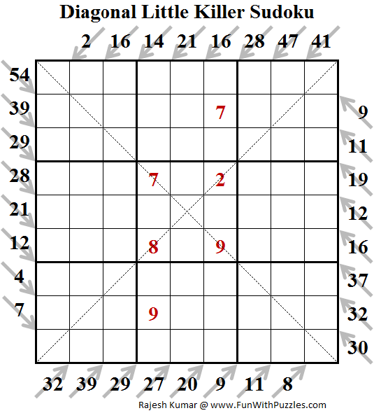 Diagonal Little Killer Sudoku Puzzle (Fun With Sudoku #128)