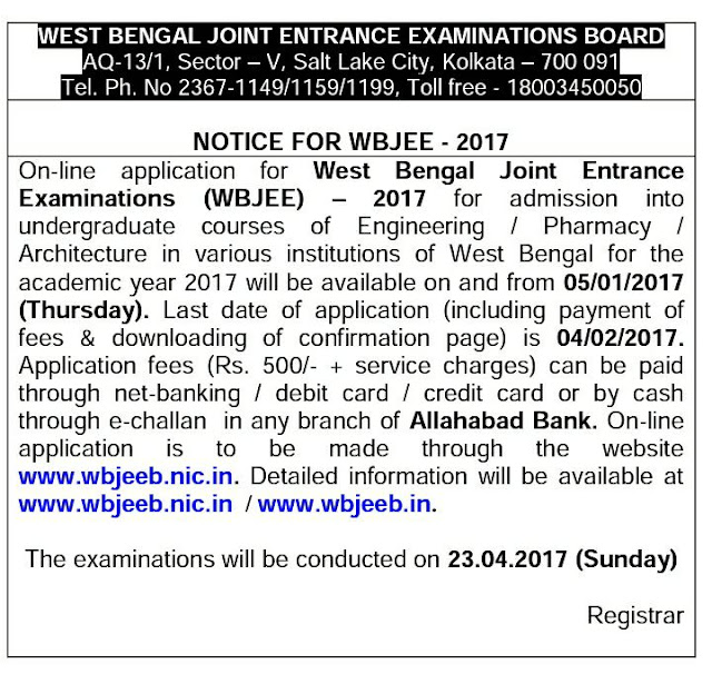 NOTICE FOR WBJEE 2017
