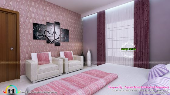 Pink color theme bedroom interior