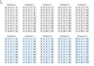 contoh perkalian 1 sampai dengan 10 pdf gratis