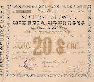 share of the Mineria Uruguya gold mining company