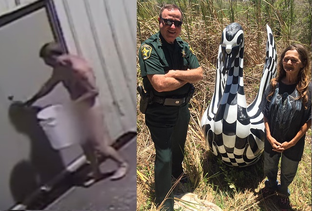 Swan statue stolen by naked man has been found in Florida