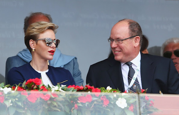Prince Albert and Princess Charlene attended the awards ceremony of the Monte Carlo Rolex Masters. newmyroyals, new myroyals, new my royals, dress jeweler, diamond, princess charlene style