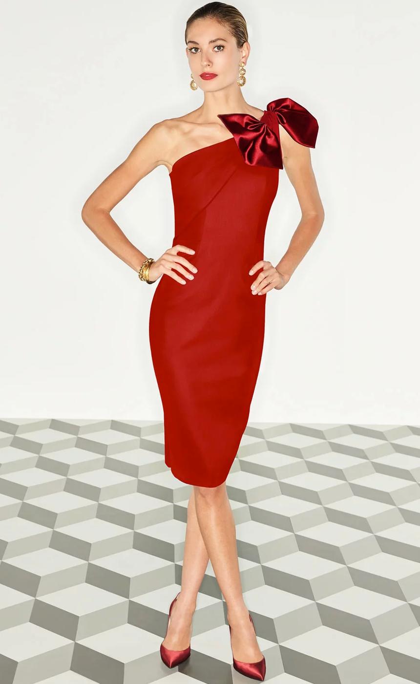 Chiara Boni La Petite Robe Jasmine One-Shoulder Satin Bow Cocktail Dress