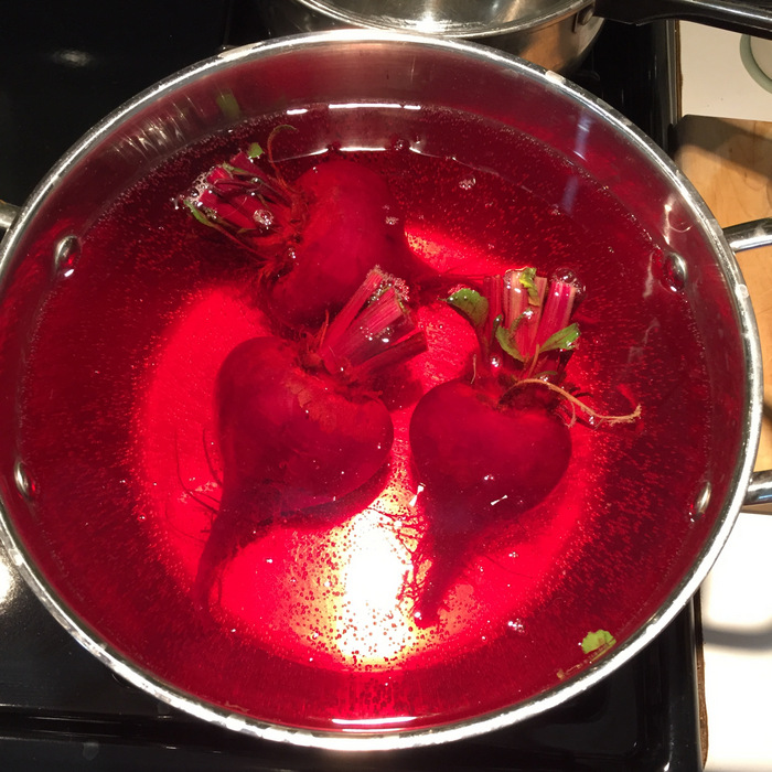 Photo of beets in boiling beet red water