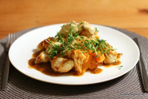Hähnchenbrust mit Süßkartoffelstampf und Senfsauce