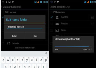 pencadangan data kontak telepon android