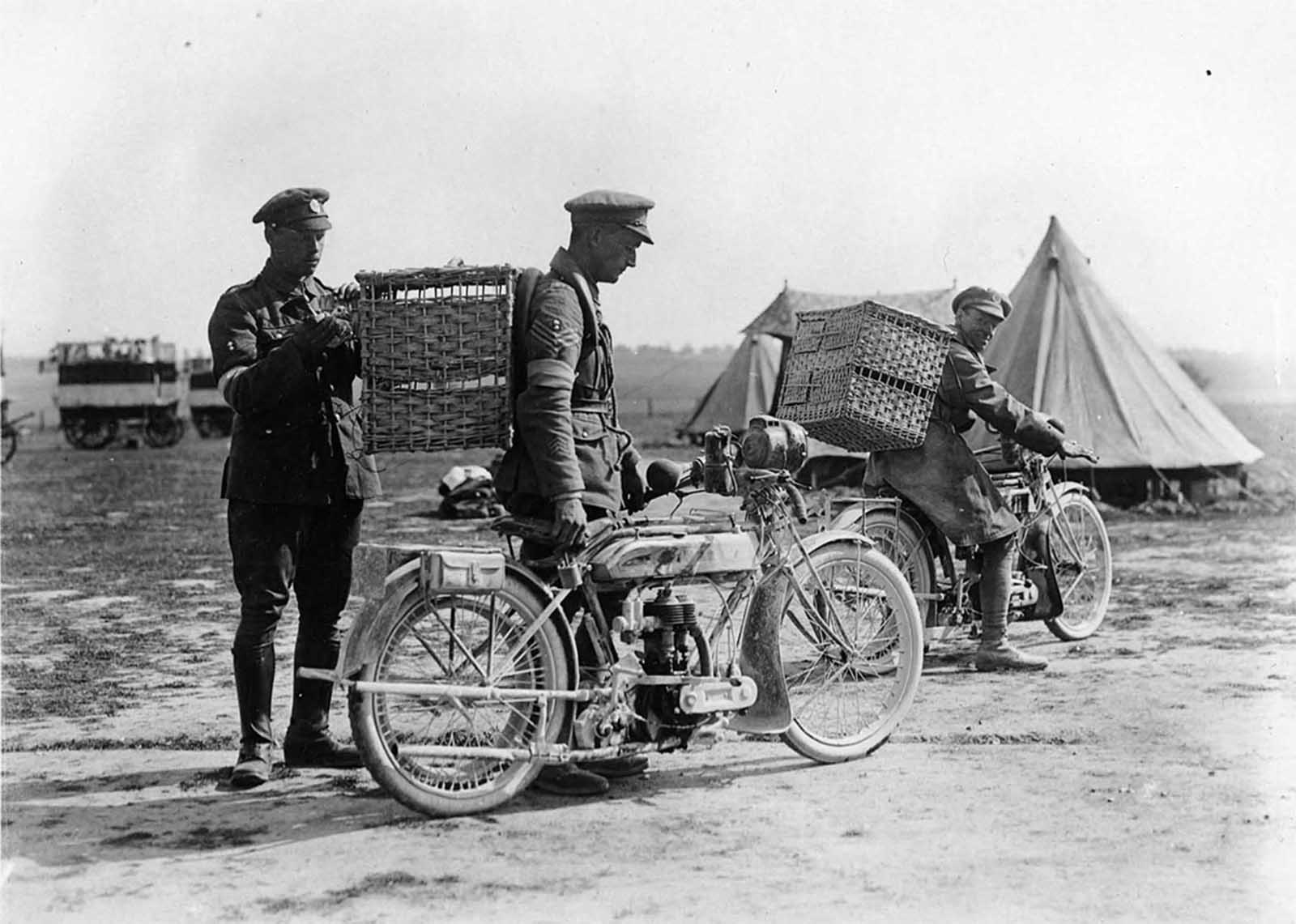 Two soldiers with motorbikes, each with a wicker basket strapped to his back. A third man is putting a pigeon in one of the baskets. In the background there are two mobile pigeon lofts and a number of tents. The soldier in the middle has the grenade badge of the Royal Engineers over the chevrons which show he is a sergeant.