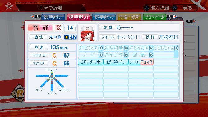 パワプロ 星 名将甲子園 選手能力 雪野楓