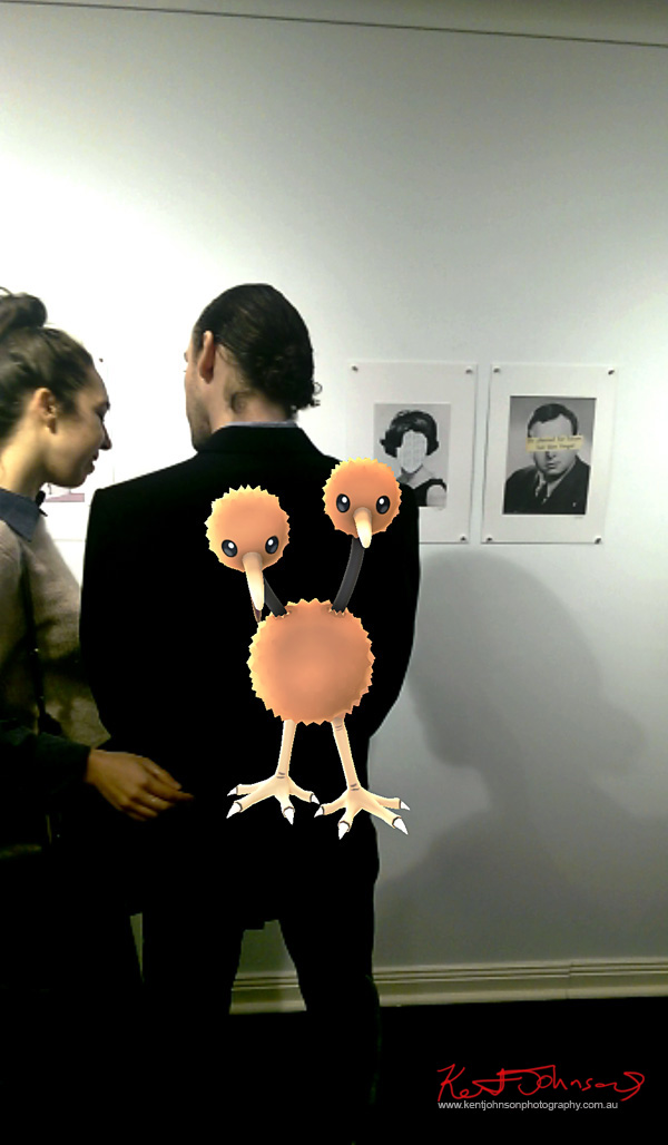 A Pokemon Doduo crashes and art opening at Folonomo Gallery in Surry Hills, Sydney.