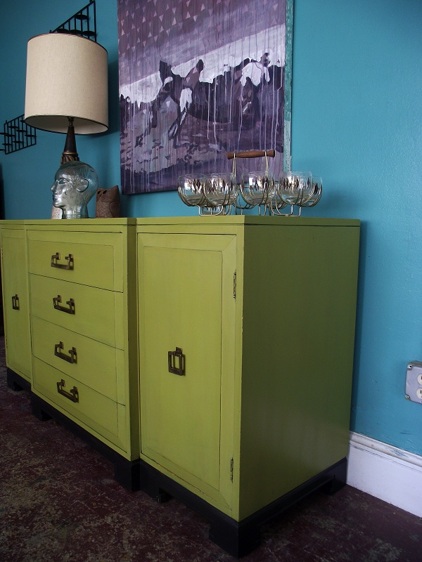 Vintage Ground Vintage Retro Green Buffet Sideboard Media Stand