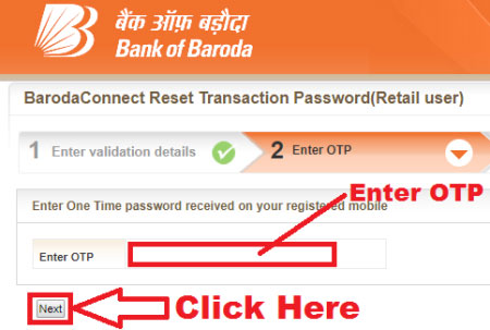 how to reset transaction password in bank of baroda