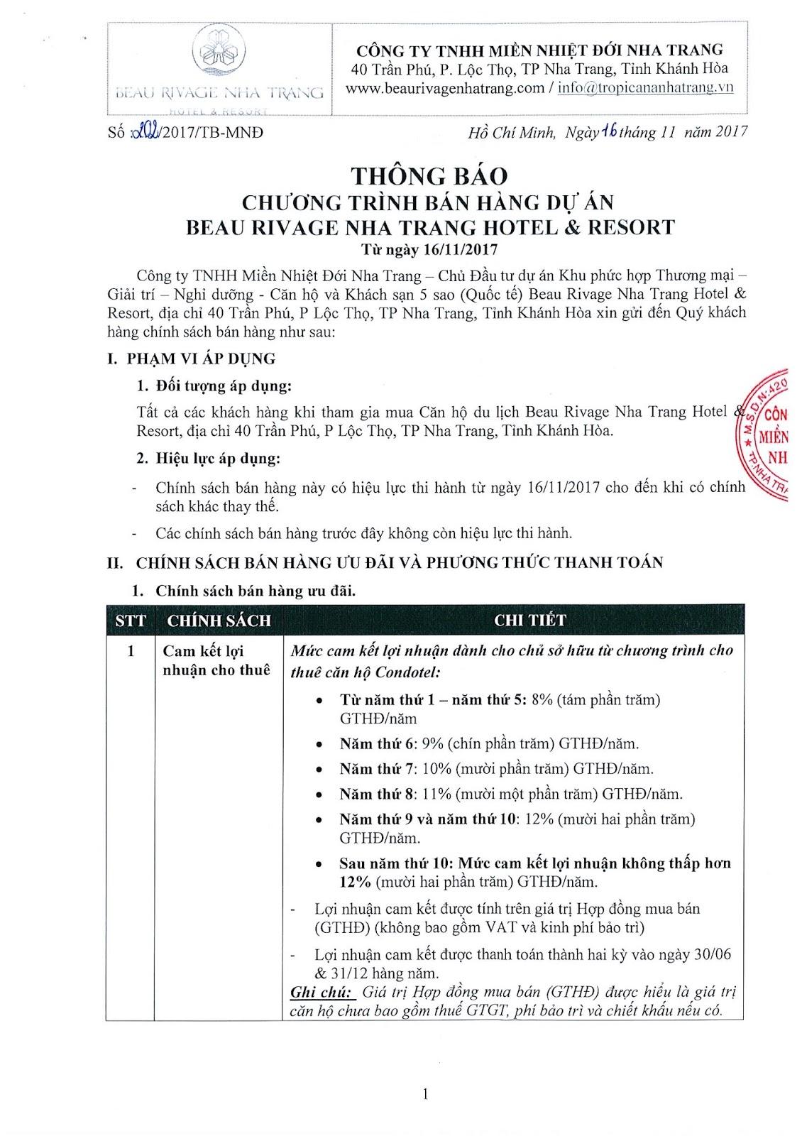 Chính sách bán hàng dự án Beau Rivage Nha Trang