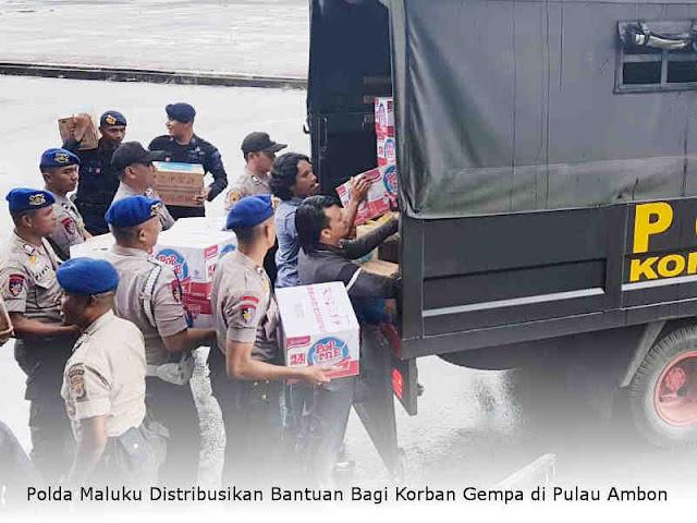 Polda Maluku Distribusikan Bantuan Bagi Korban Gempa di Pulau Ambon