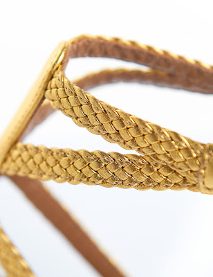 Aquazzura Gold Flat Lace-up Open Strap Sandals